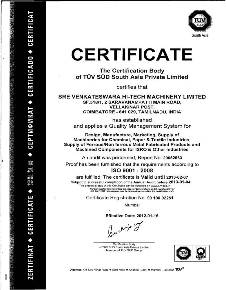 Quality standards and Certifications | SVHML - Engaged in ...
